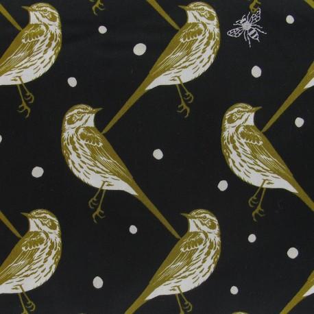 Popeline Echino by Etsuko Furuya Bird fabric - Black x10 cm