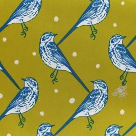 Tissu Popeline Echino by Etsuko Furuya Bird Yellow x10 cm