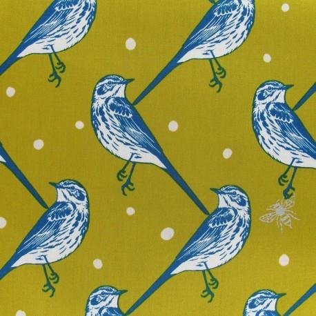 Tissu Popeline Echino by Etsuko Furuya Bird Blue x10 cm