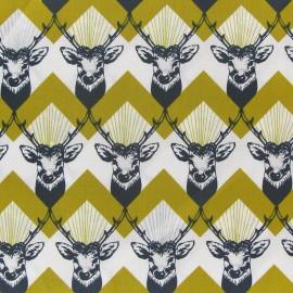 Echino by Etsuko Furuya Deer Poplin Fabric - Yellow x10 cm