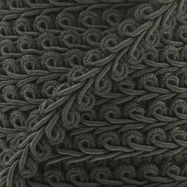 Ear of wheat braid trimming ribbon 12mm  x 1m - anthracite grey