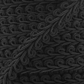 Ear of wheat braid trimming ribbon 12mm  x 1m - black