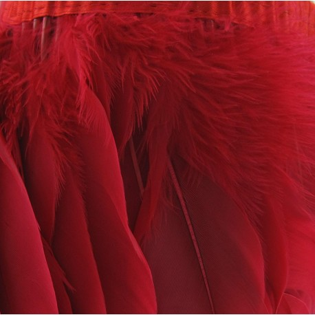 Rooster's feathers braid trimming ribbon 14cm x 20cm - red