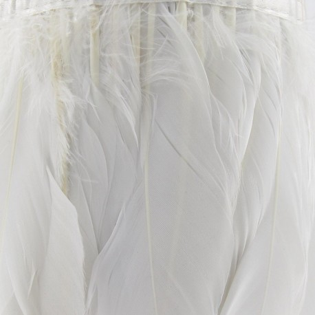 Rooster's feathers braid trimming ribbon 14cm x 20cm - white