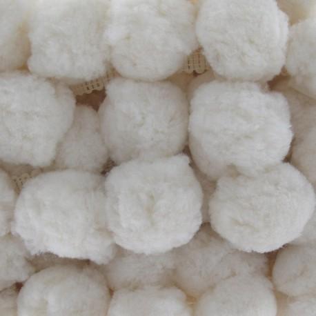 Galon Gros Pompons Blanc x 50cm