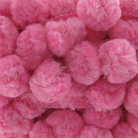 Galon Gros Pompons Rose x 50cm