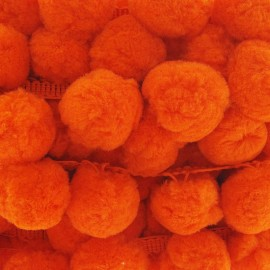 Big pom pom trim - orange x 50cm