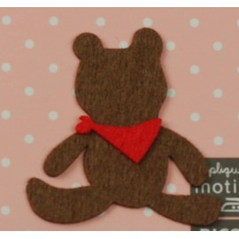 Felt-fabric Teddy bear iron-on applique - brown