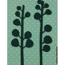 Felt-fabric Branches iron-on applique - dark green