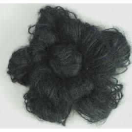 Mohair flower brooch - black