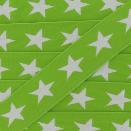 Flat elastic with white stars 40 mm - lime