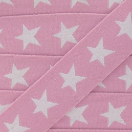 Flat elastic with white stars 40 mm - pink