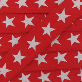 Flat elastic with white stars 40 mm - red