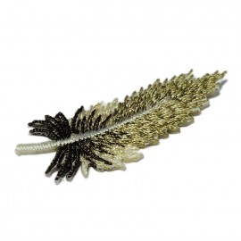 Multicolored feathers iron-on applique - beige