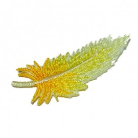 Multicolored feathers iron-on applique - yellow