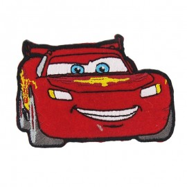 "Embroidered ""Cars"" Flash McQueen iron-on applique - red"
