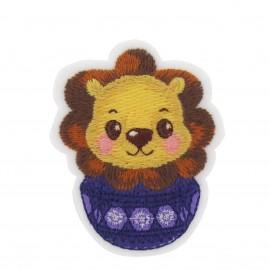 ♥ Lion, winter animals iron-on applique ♥ - purple