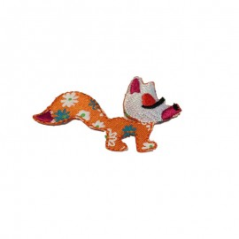 Fox, flowered enchanted forest iron-on applique - orange