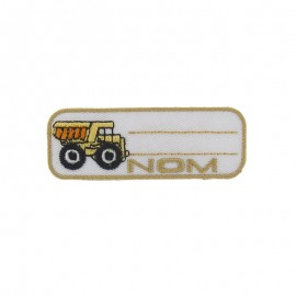 "Label ""Name"" dump truck iron-on patch - yellow"