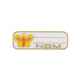 "Label ""Name"" butterfly iron-on patch - yellow"