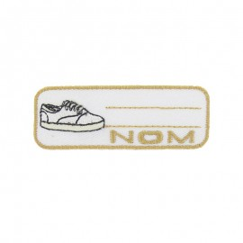 """Label """"Name"""" sneaker iron-on patch - white"""