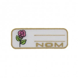 "Label ""Name"" rose iron-on patch - pink"