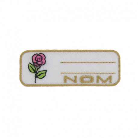 """Label """"Name"""" rose iron-on patch - pink"""