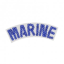 Marine with sequins iron-on applique - blue