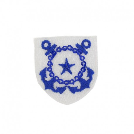Star badge with sequins iron-on applique - blue