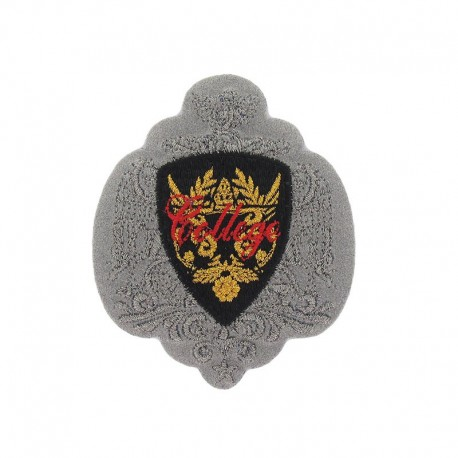 Coat-of-arms College iron-on applique - grey