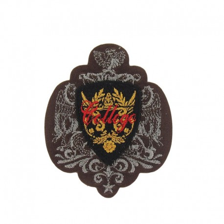 Coat-of-arms College iron-on applique - brown