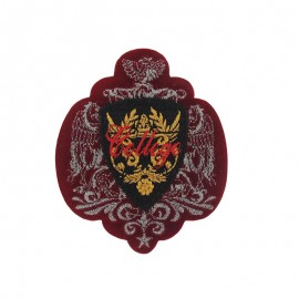 Coat-of-arms College iron-on applique - carmine red