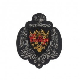Coat-of-arms College iron-on applique - black