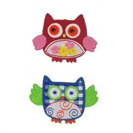 Owl couple TitMeli Melo iron-on applique - multicolored