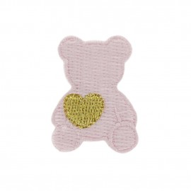 Teddy bear with golden heart iron-on applique - baby-wear pink