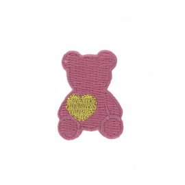 Teddy bear with golden heart iron-on applique - old rose