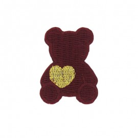 Teddy bear with golden heart iron-on applique - burgundy