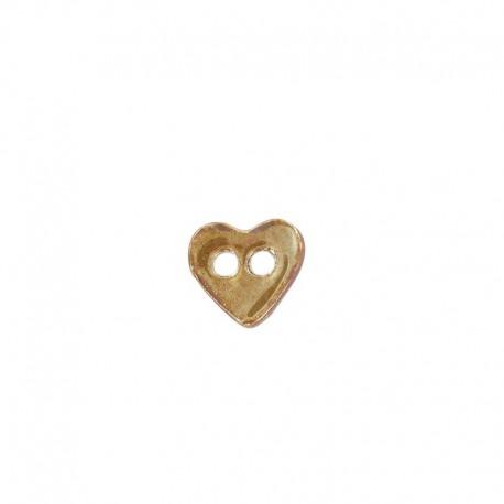 Bouton céramique coeur chocolat