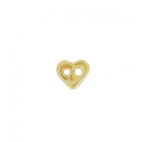 Bouton céramique coeur jaune