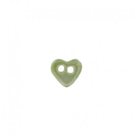 Bouton céramique coeur vert jaune