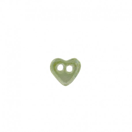 Ceramic button, heart - green/yellow