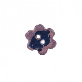 Ceramic button, big flower - purple