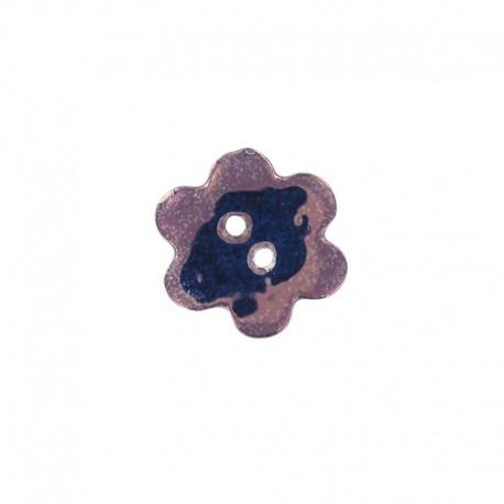 Bouton céramique grande fleur violet