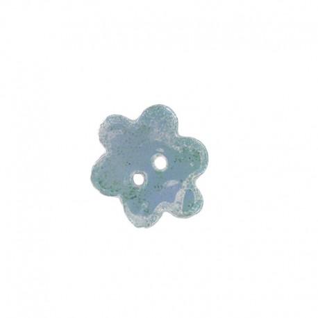 Ceramic button, big flower - opaline-colored