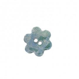 Bouton céramique grande fleur vert bleu