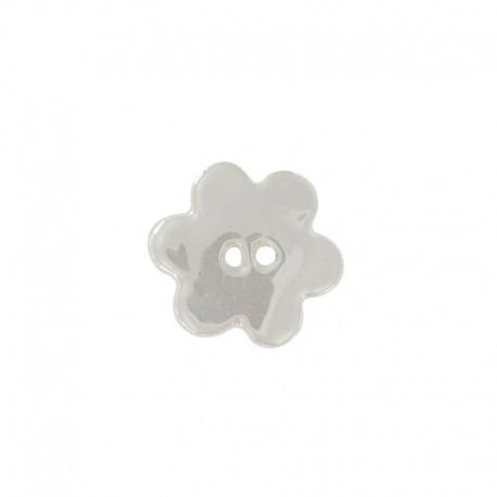 Ceramic button, big flower - light grey