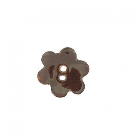 Ceramic button, big flower - brown