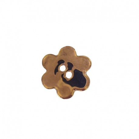 Ceramic button, big flower - bronze