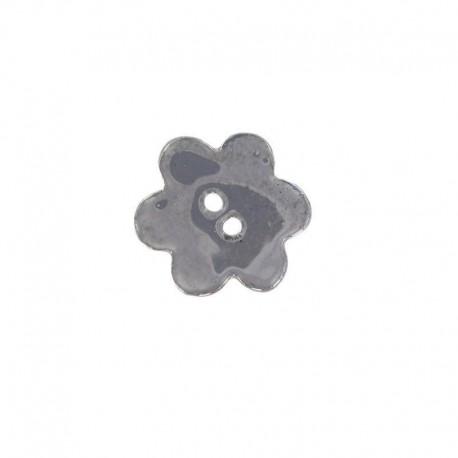 Ceramic button, big flower - dark grey