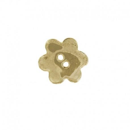 Ceramic button, big flower - beige